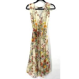 Zara Basic floral v-neck high low dress tie back M